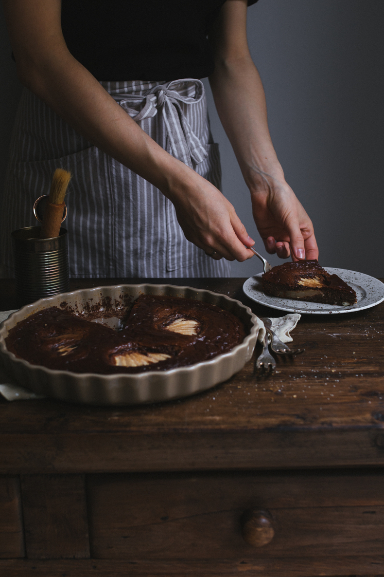 Chocolate Pear Clafoutis with Gorgonzola by Tanya Balyanitsa (more recipes on Honeytanie.com)