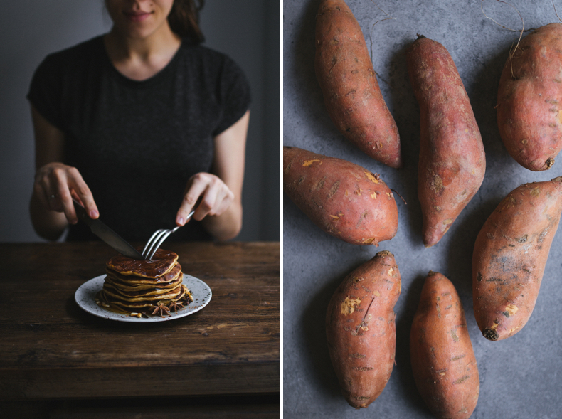 Sweet Potato Pancakes with cinnamon. Recipe and photograpy by Tanya Balyanitsa (more on Honeytanie.com)